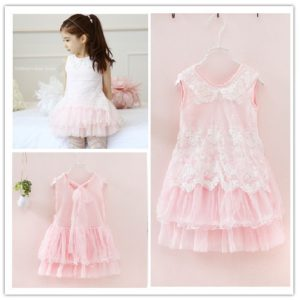 Pink 2-7years girl Embroided Net Cake Skirt