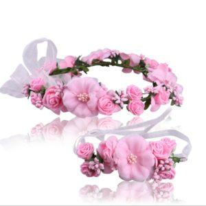 Pink Hand Made Elegant Floral Head Tiara & Wrist