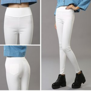 White High Quality imported High Waist Cotton Pencil pants