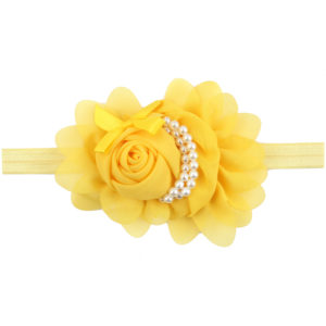 Hand Made Yellow Chiffon Flowers Pearls Head Band