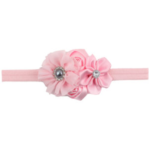 Pink  4 Hand made Flowers gray rheinstone Head bands
