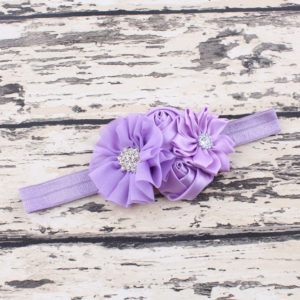 Lavender 4 Hand made Flowers rheinstone Head bands