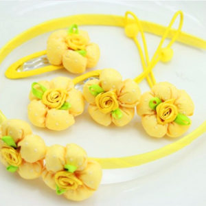 5 pieces yellow Fabric Flowers Hair accessories set