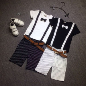 2-7 years black and white boy Summer Cotton Shirt & shorts with belt