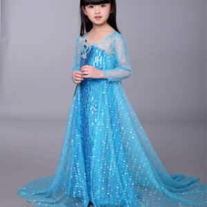 3-14 years Elsa Frozen Long Sequined Gown