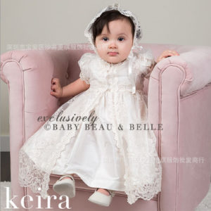 18-24 Months Baby Girl long Embroided gown+inner Skirt+Cap