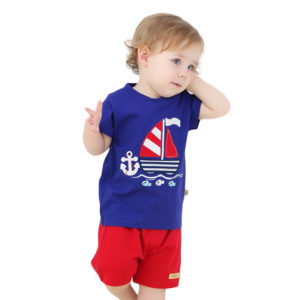 Branded 9months-3 years Boys Embroidered Ship cotton Shirt & Shorts