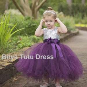 Plum sequined body tutu dress in pakistan