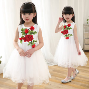 3-7 years Embroidery  3D Rose White  Net Frock