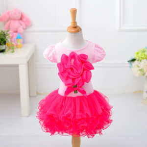 1-5 years girl Rose flower Shirt & Skirt