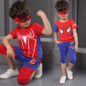 9-12 years boys summer Spiderman Suit