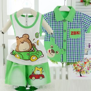 0-3 years Baby Bear Green summer 3 pieces