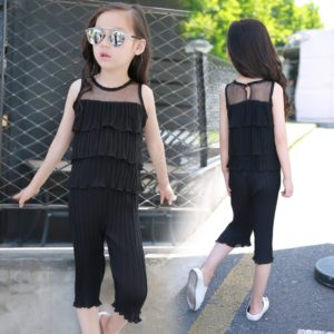 Black Korean sleeveless pressure pleated chiffon Shirt & Capri