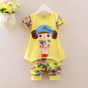 Yellow Curly Hair Doll Shirt & Shorts