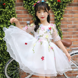 White 3-10years girl Flower crinkle organza cotton linning frock
