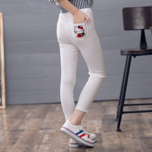 White 6-12 years Kitty cotton stretchable pants