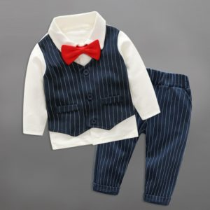 Birthday Boy 0-4 years 100% Thick Cotton Blue Gentleman suit