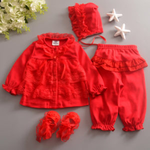 Red 0-24 months Baby Girl Summer Lace Ruffled Shirt + Trouser + Cap