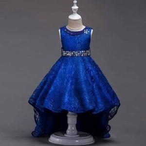 Elegant Girl Diamond-ties Belt Floral Lace Net Tail dress