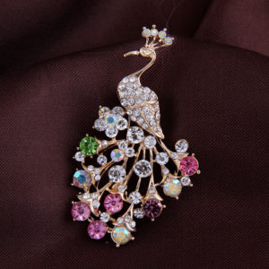Peacock Diamond Brooch for scarf , saree & coat