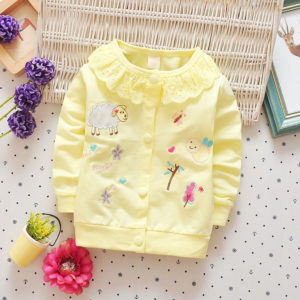 Yellow Cute Embroidery Cardigan