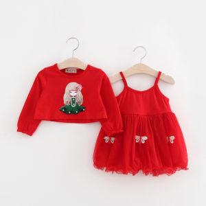 Baby Girl Cotton inner Skirt Frock With full Sleeves Shirt