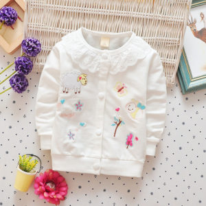 White Cute Embroidery Cardigan