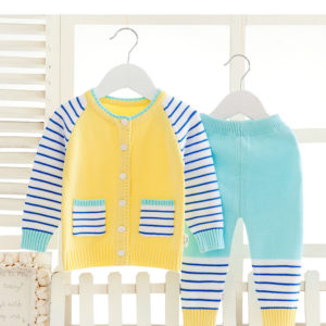 1-2 years wool baby Yellow Shirt & Sky Blue Trouser