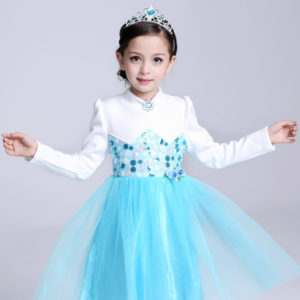 Winter Plush Velvet Thick Elsa Sky Sequined Frock