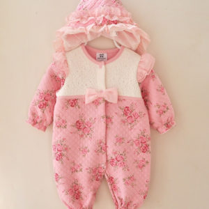Winter Thick Baby Girl Floral Romper + Cap / covrtable sleeping Bag