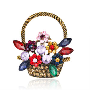 Cute Flower Basket Ancient Gold scarf , Jarsi, Saree & coat Brooch