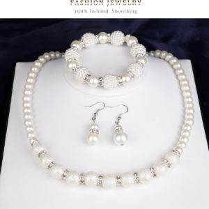 Fashionable Pearl Rhinestone  Necklace Earrings Braclet