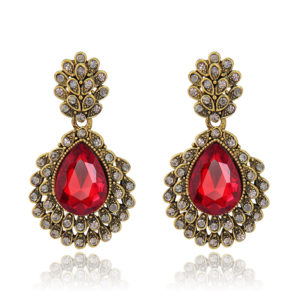 Red & Antique Gold Pendant Earings