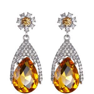Silver & Golden Diamond Water Droplets Glass Earrings