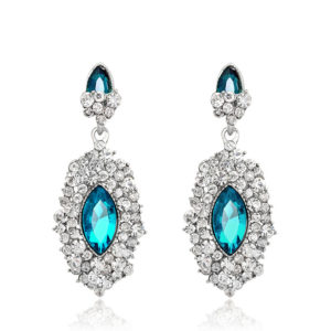 Silver & Ferozi Crystal diamond drill earrings