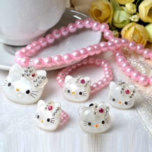 Pink Kitty Pearl Necklace, earrings, ring & braclet