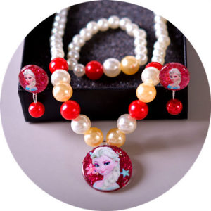Shimmer Red Pearls Necklace, Earrings & bracelet
