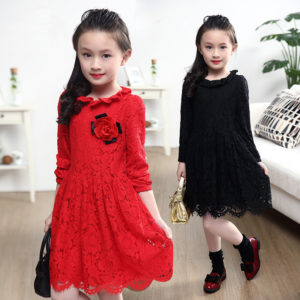 6-7 years Red Lace Fabric Frock