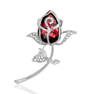 Red & Silver Crystal Rose scarf , Jarsi, Saree & coat Brooch