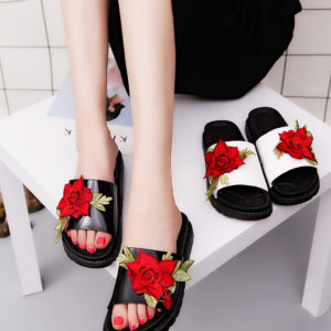 Flower Embroidery soft slippers