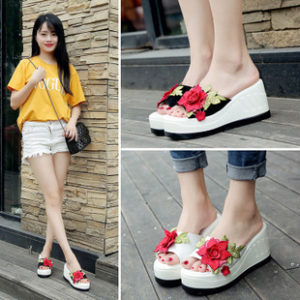 Rose thick-bottomed high-heeled waterproof Taiwan slippers