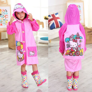Cute Pink Kitty Raincoat With Backpack Cover
