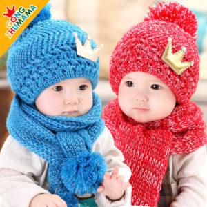 1-7 Red & Blue Golden Crown Winter Wool Cap & Muffler