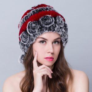 Luxurious 2017 Rex rabbit velvety Warm Rose fur hat
