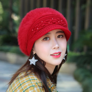 Red Pearl Double layer rabbit fur Korean knit wool hat