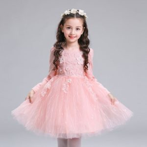 8 year Peach Floral Lace Elegant Full Sleeves Frock