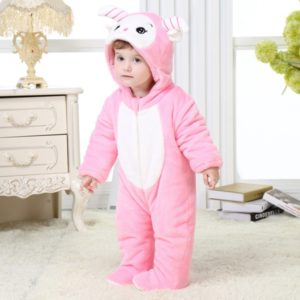 0-4 years Thick Padded Coral Velvet Cute Pink Sheep warm Romper
