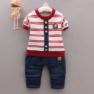 Red lining Button Shirt  And Pant Set