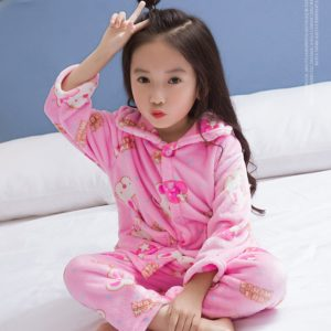 2-12 years Pink Bunny Coral Velvet Super Soft Sleeping Set