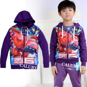 2-7 years boys Purple Car Hooded Zipper